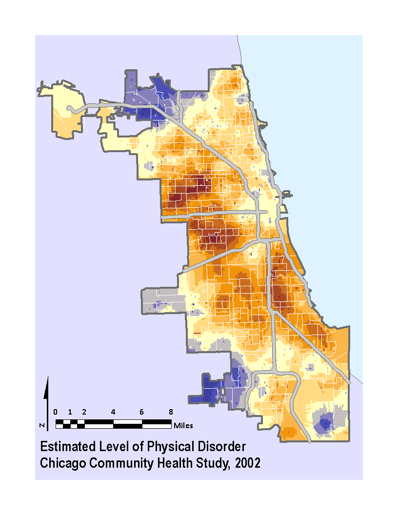 Kriged surface of disorder for Chicago blocks